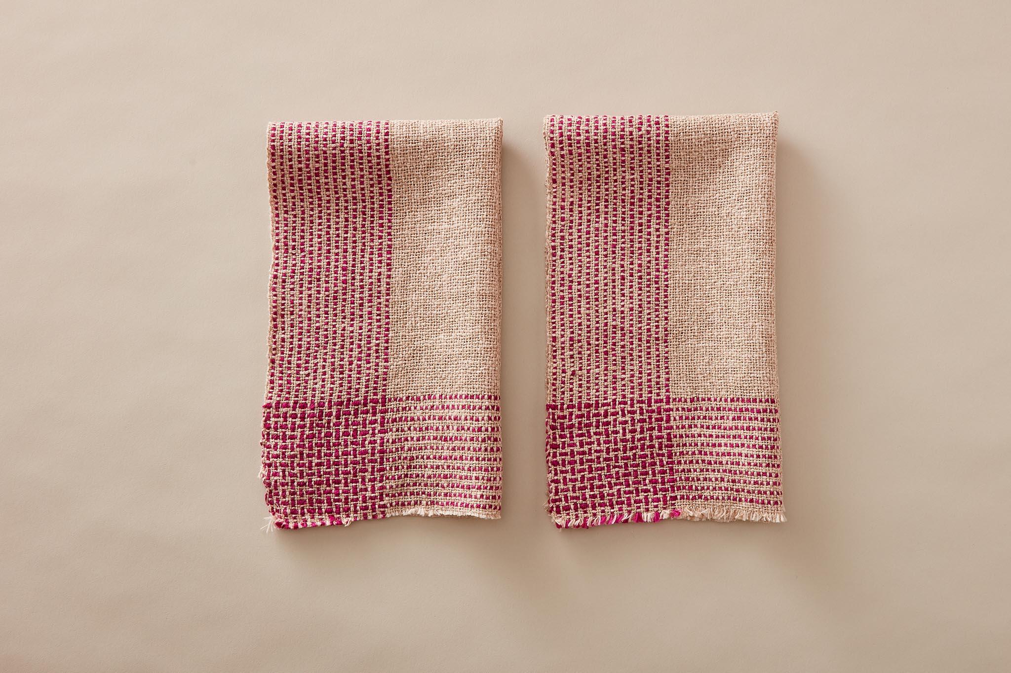 Handwoven Running Stitch Towels in Duet Yarn