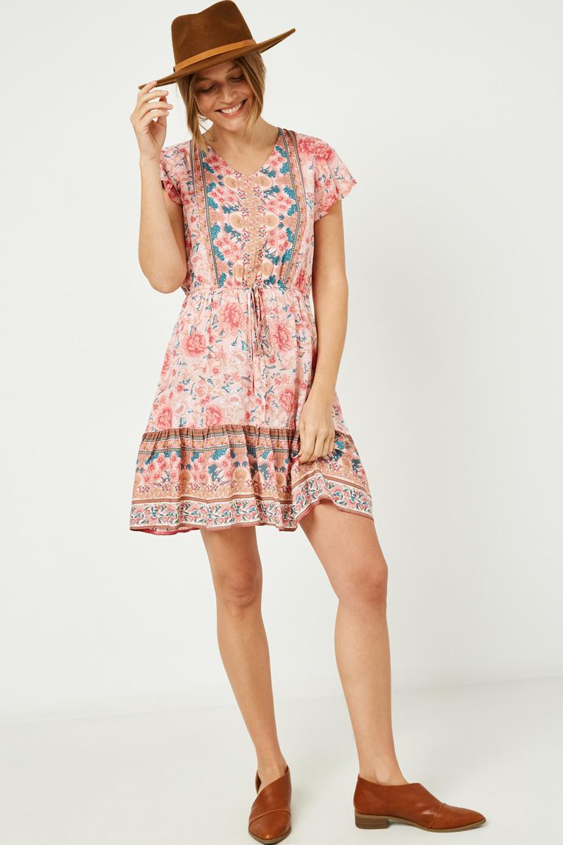 Womens Bordered Flutter Sleeve Mini Dress