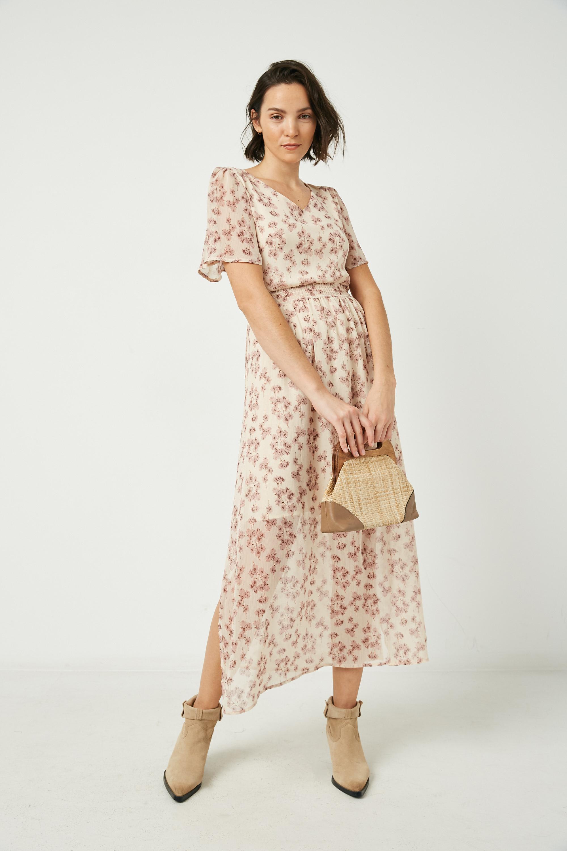 Womens V Neck Flutter Sleeve Side Slit Maxi Dress
