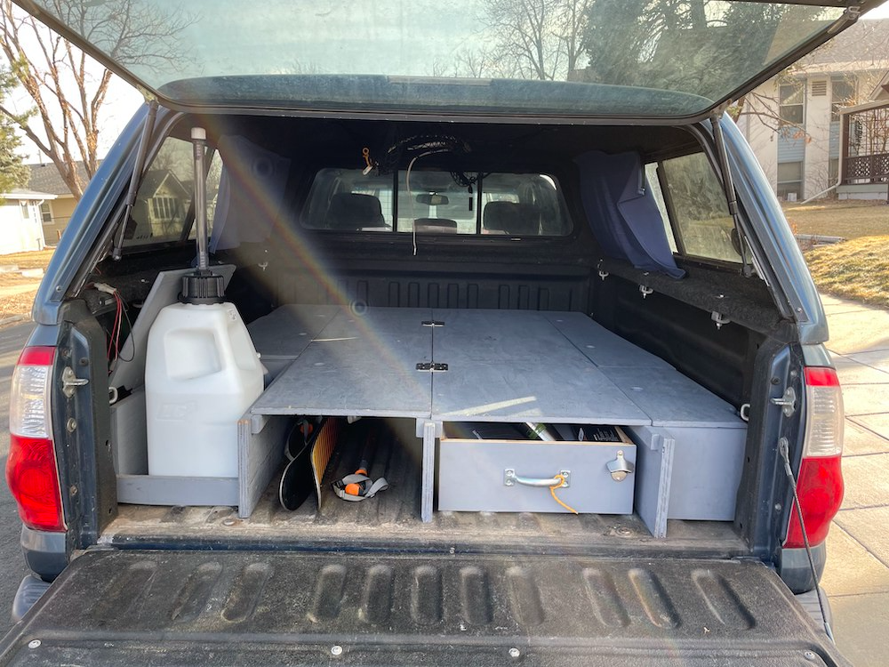 Toyota Tundra built out sleeping platform - DIY