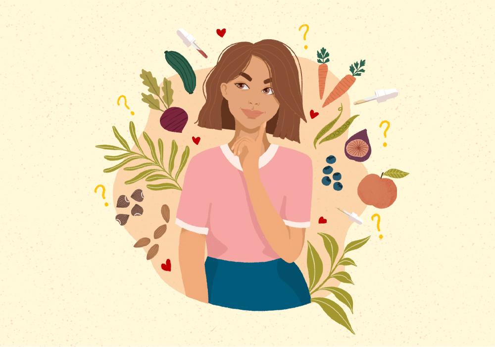 Grafik: Frau hält sich nachdenklich Finer ans Kinn und wird von verschiedenen Lebensmitteln umgeben