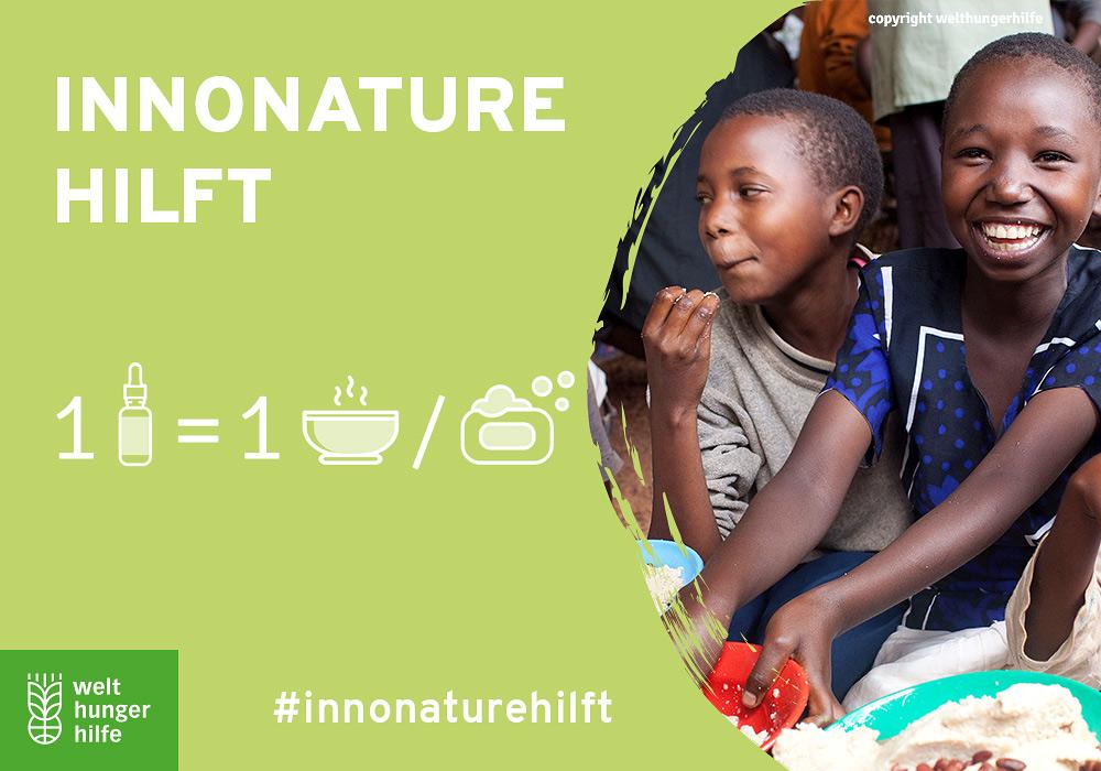 Grafik InnoNature Hilft - eine Mahlzeit/Seife pro verkauftem Produkt