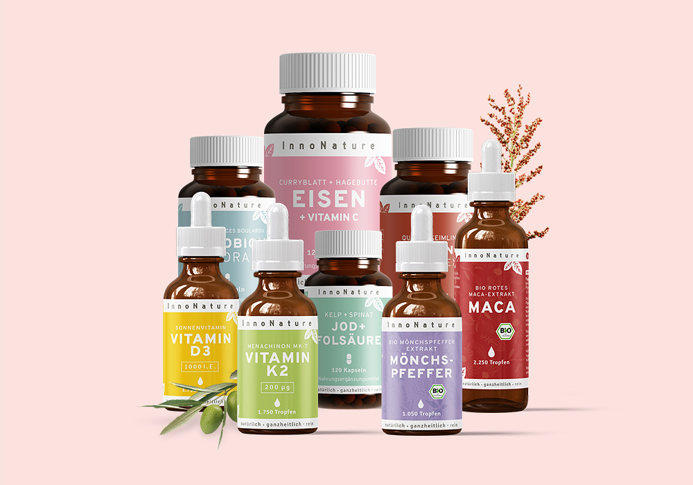 Natürliches Paket mit veganen Produkten gegen einen Mangel