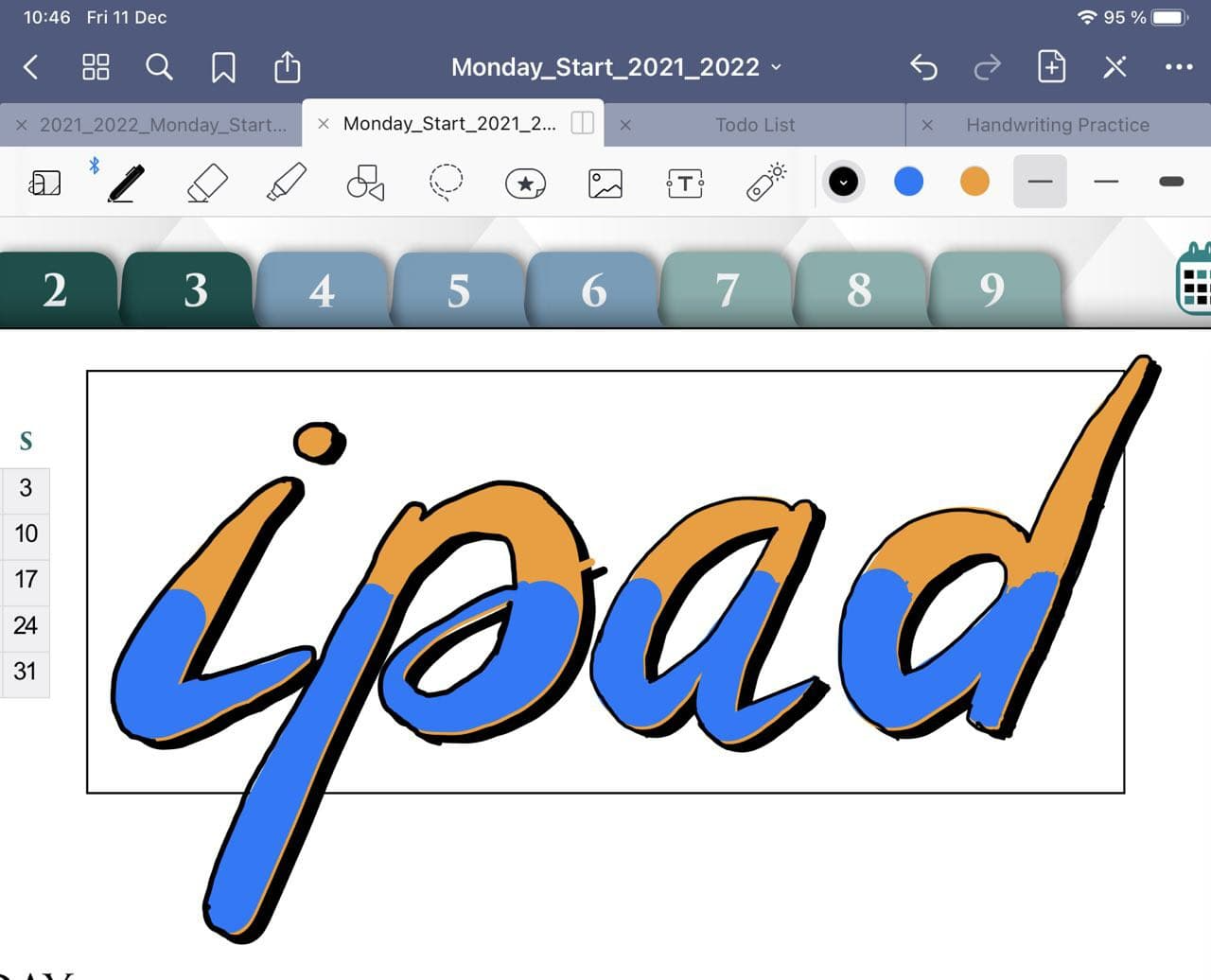 Cool Header in Goodnotes with Brush Pen and Lasso Tool ipadplanner.com