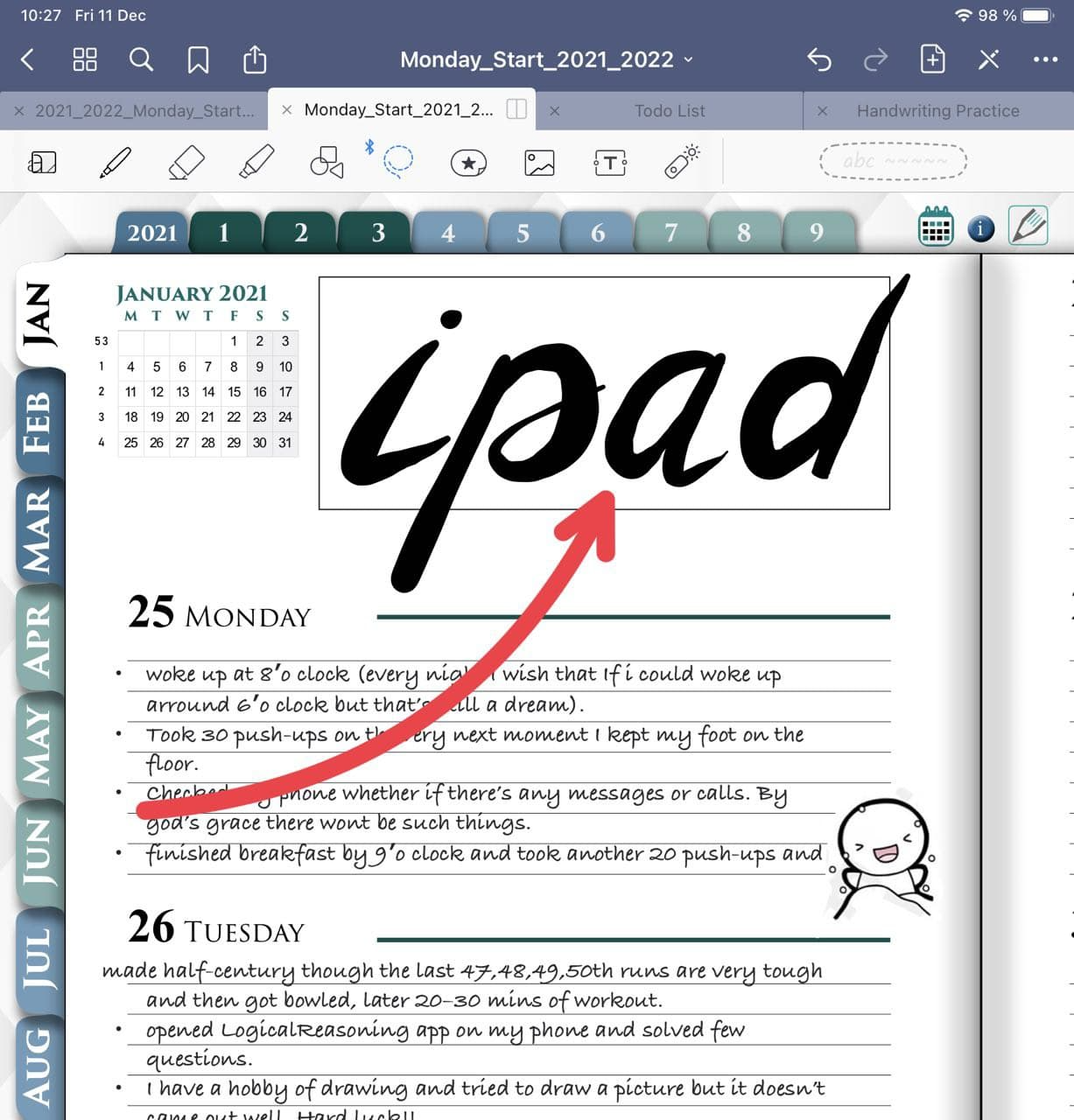 Handwriting notes and text in goodnotes 5 ipadplanner.com