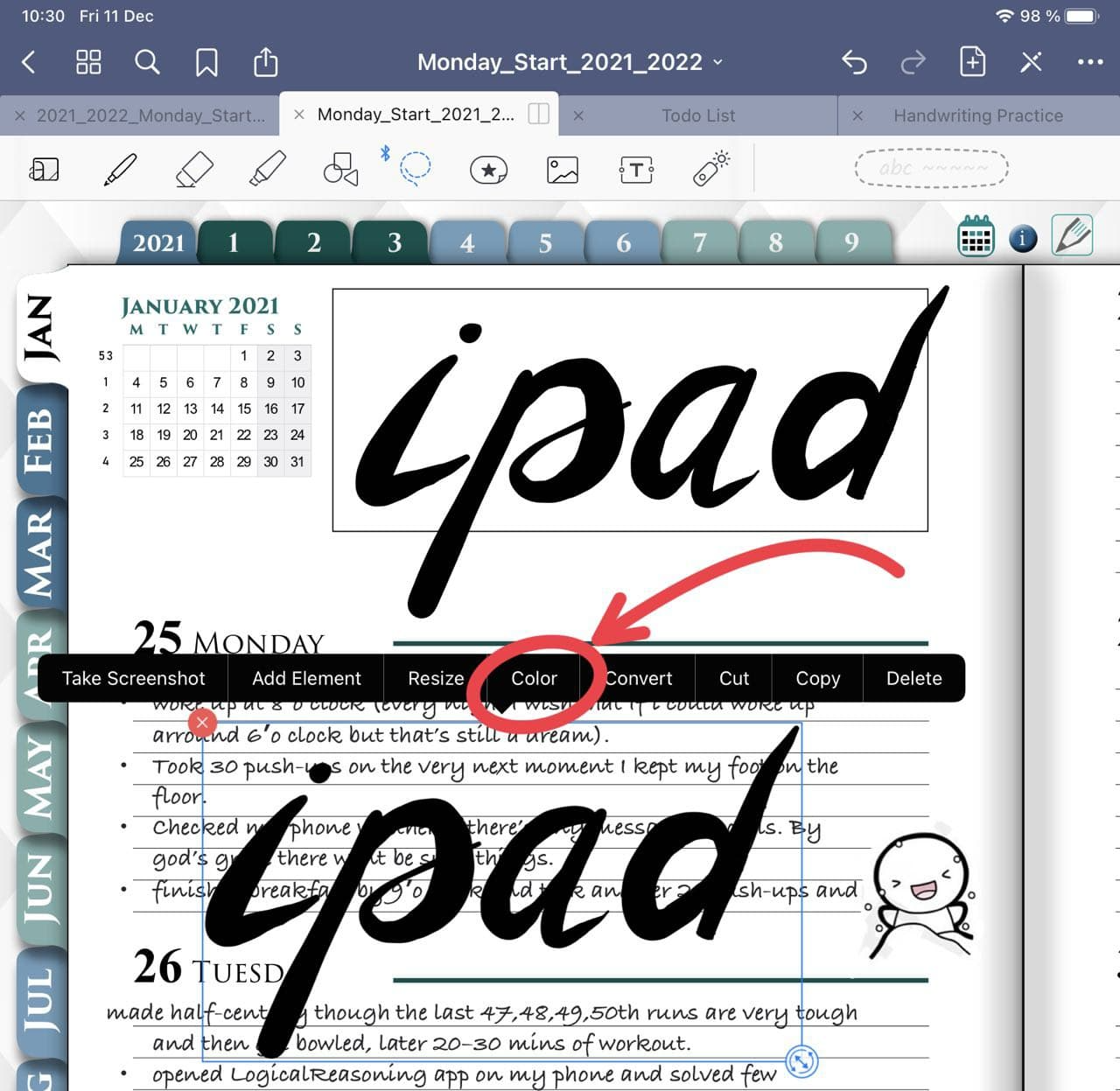 copy handwriting text in goodnotes ipadplanner.com