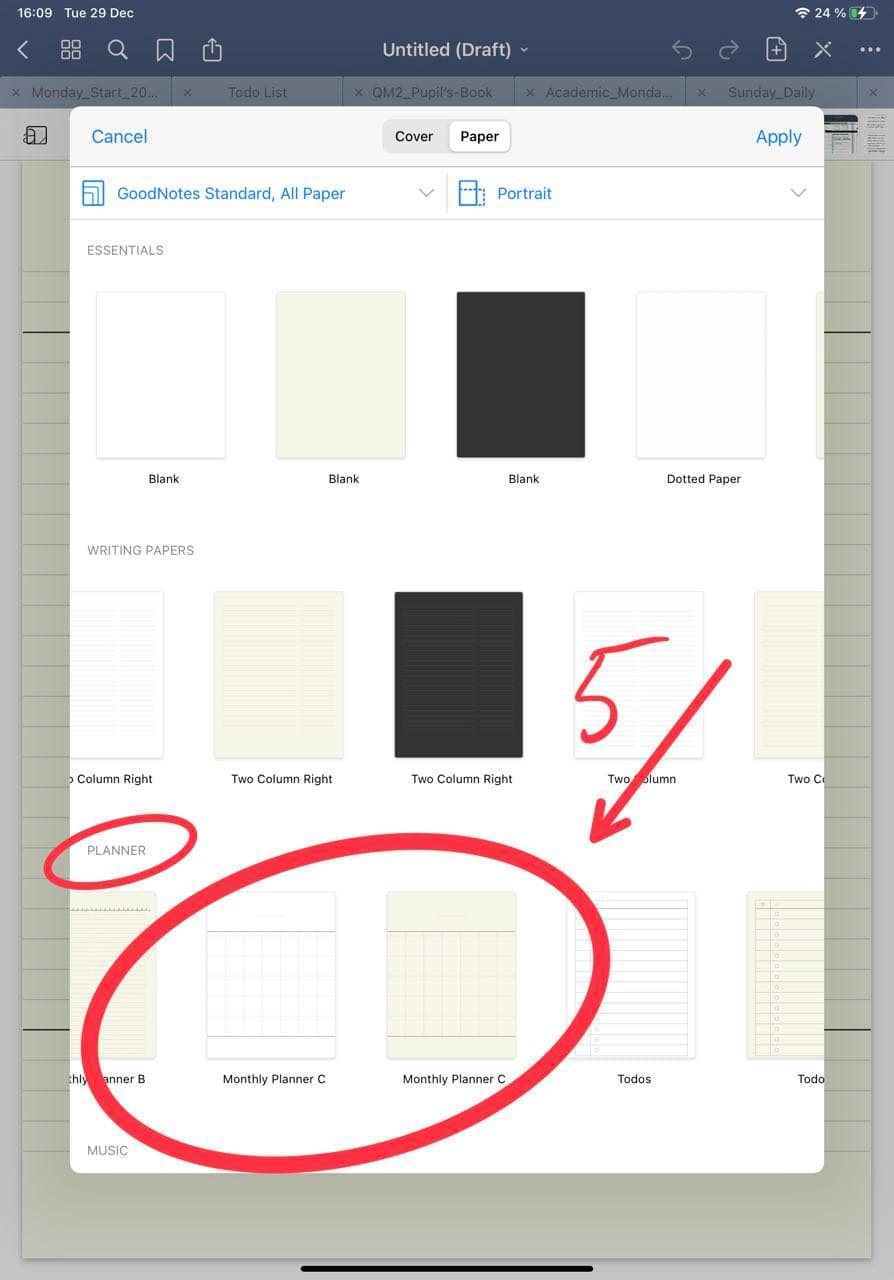Choose Digital Planner Monthly page template in goodnotes ipadplanner.com