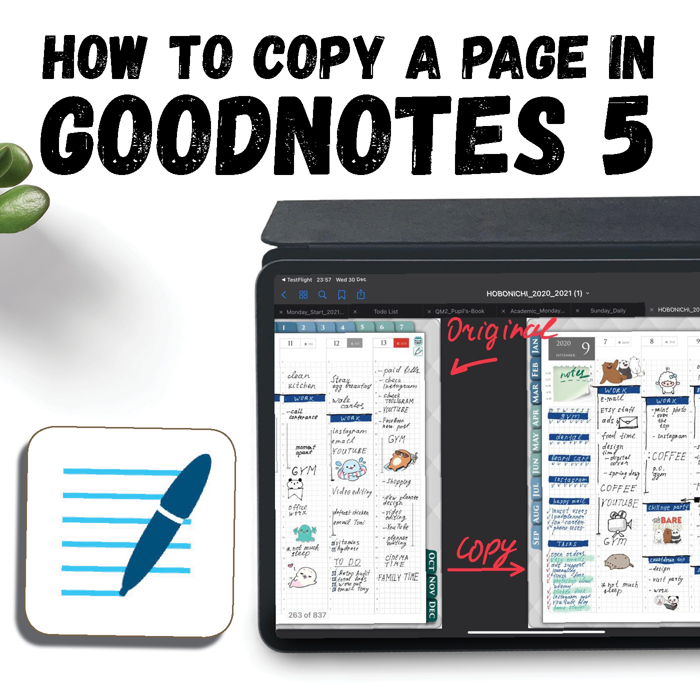 HOW TO COPY A PAGE IN GOODNOTES