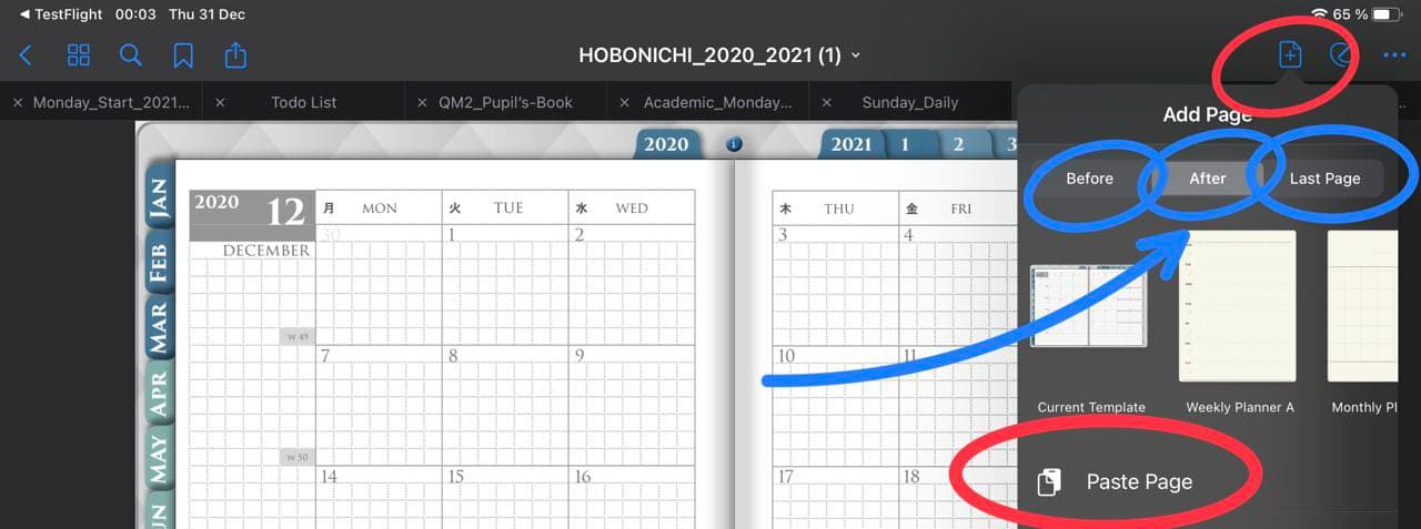 Paste the page menu in goodnotes ipadplanner.com