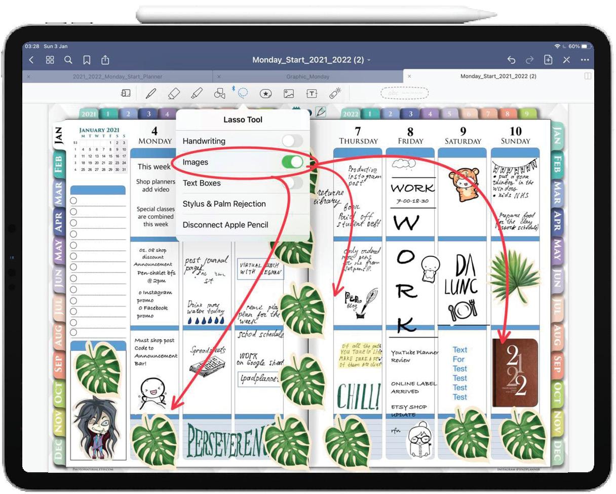 goodnotes digital stickers in ipad weekly planner ipadplanner.com