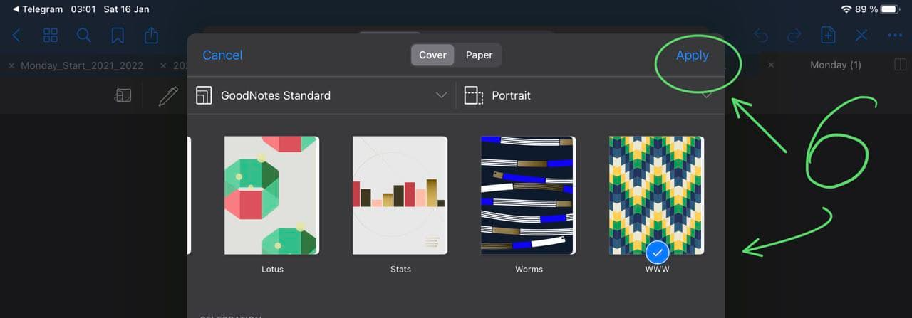 cover selections in goodnotes page view