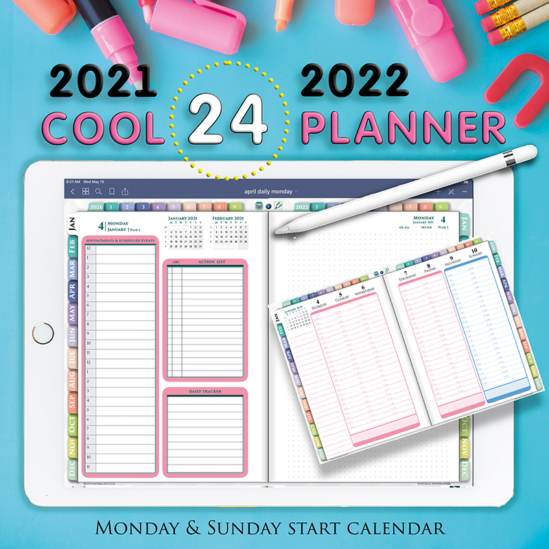 24 hourly digital planner for goodnotes