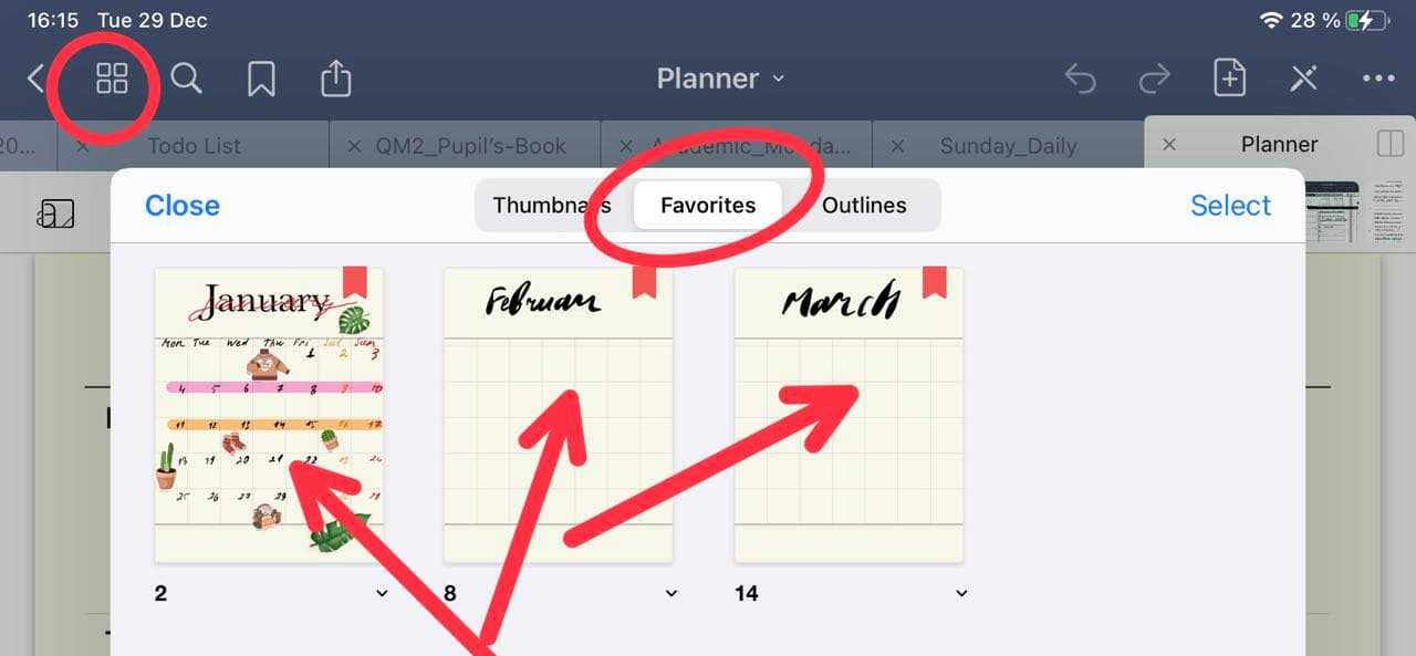 favorite goodnotes tool bar for bookmark a pages ipadplanner.com
