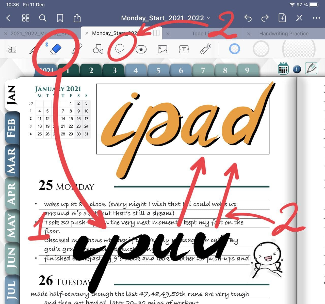 Erase tool in goodnotes ipadplanner.com