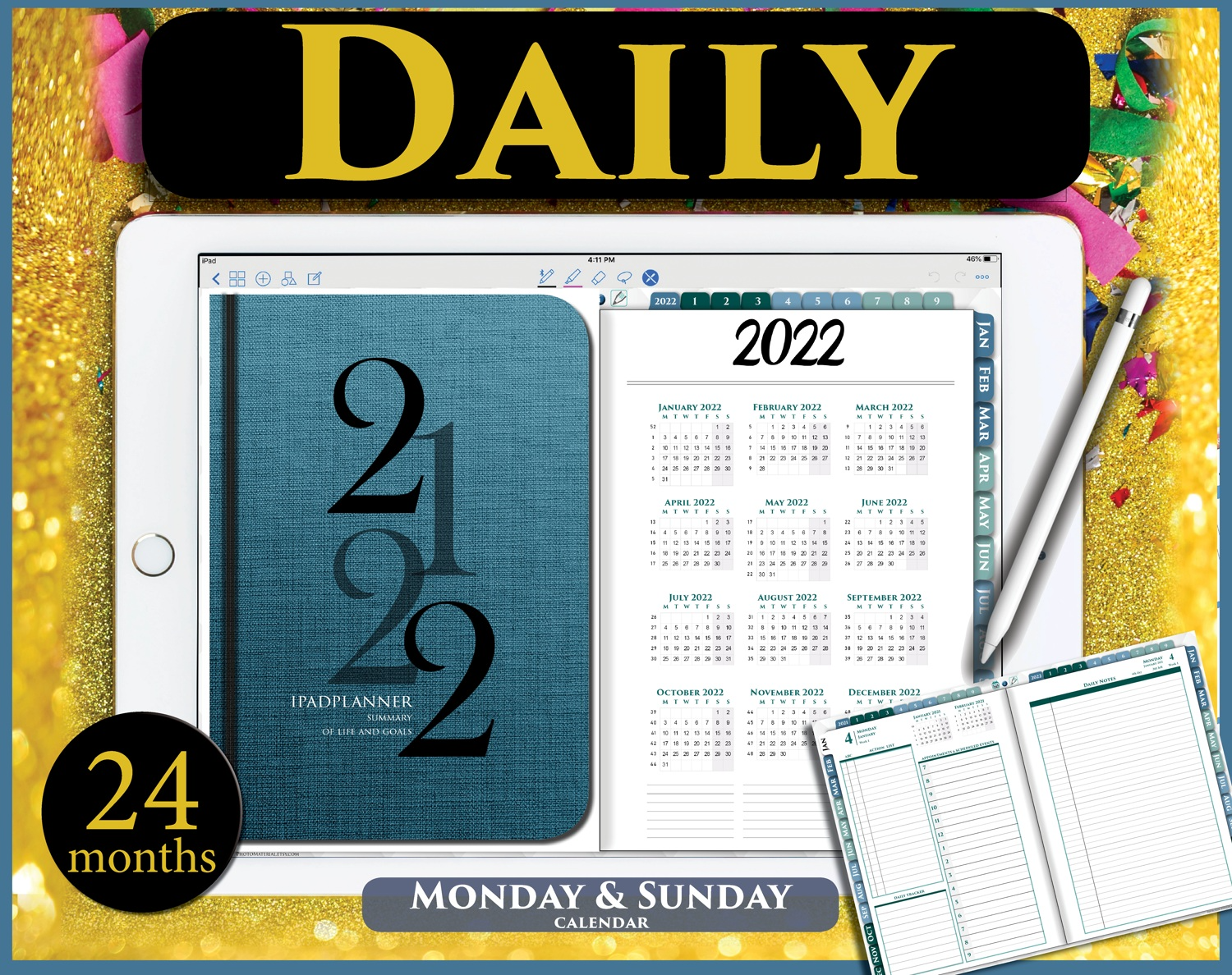 2021 2022 Digital Daily Planners for GoodNotes and Notability