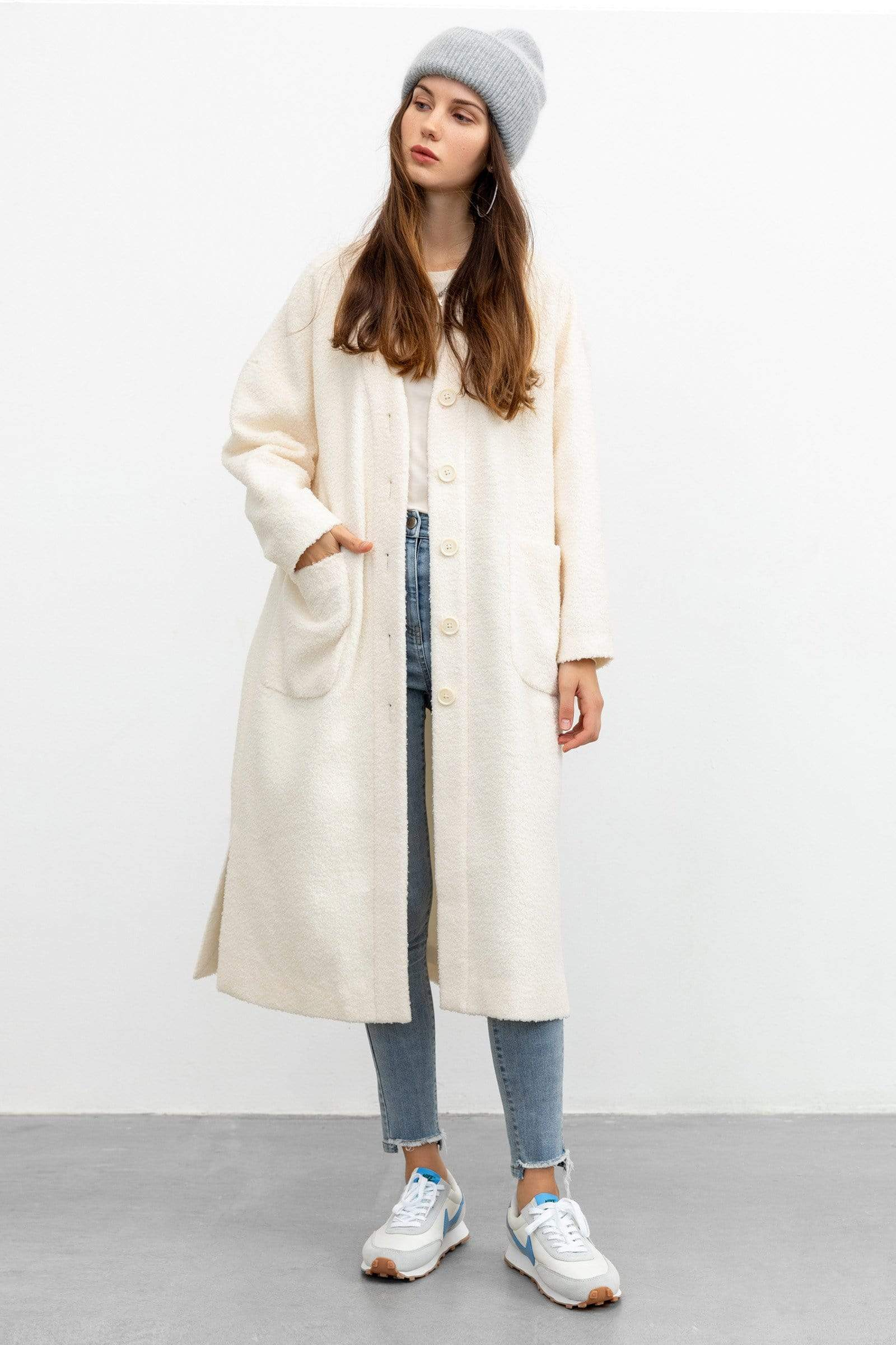 The Ida Grey Plaid Trench Coat by J.ING Women's Clothing & Apparel