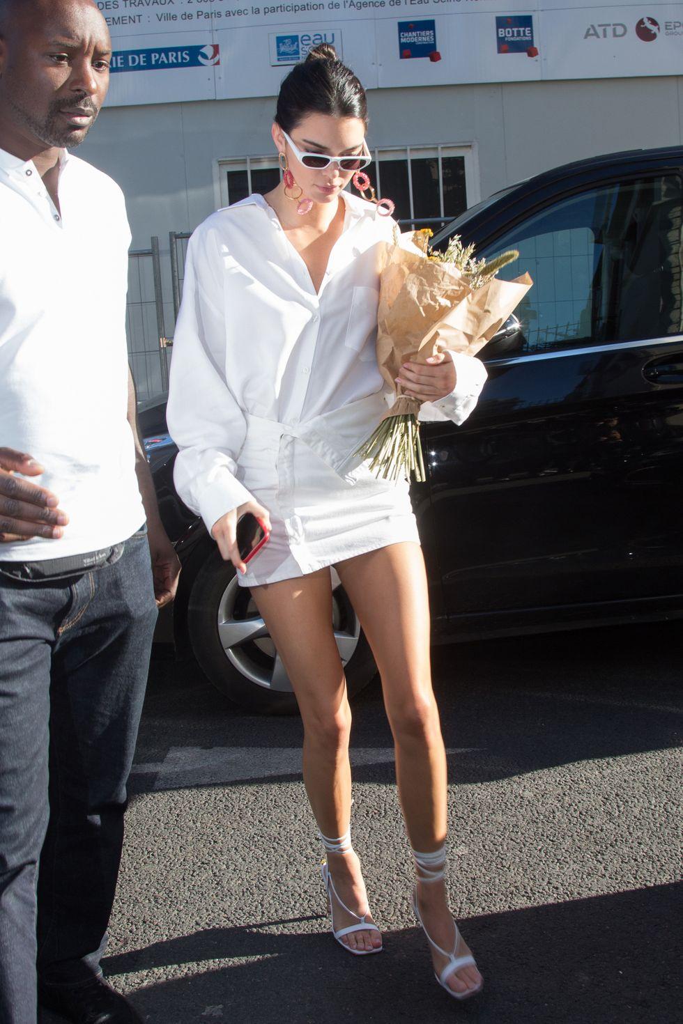 Kendall Jenner in Denim Midi Dress by Stella McCartney