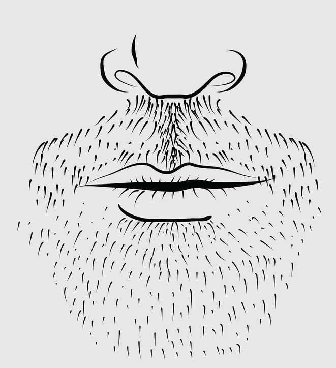 Drawing of a man's beard with nose and lips