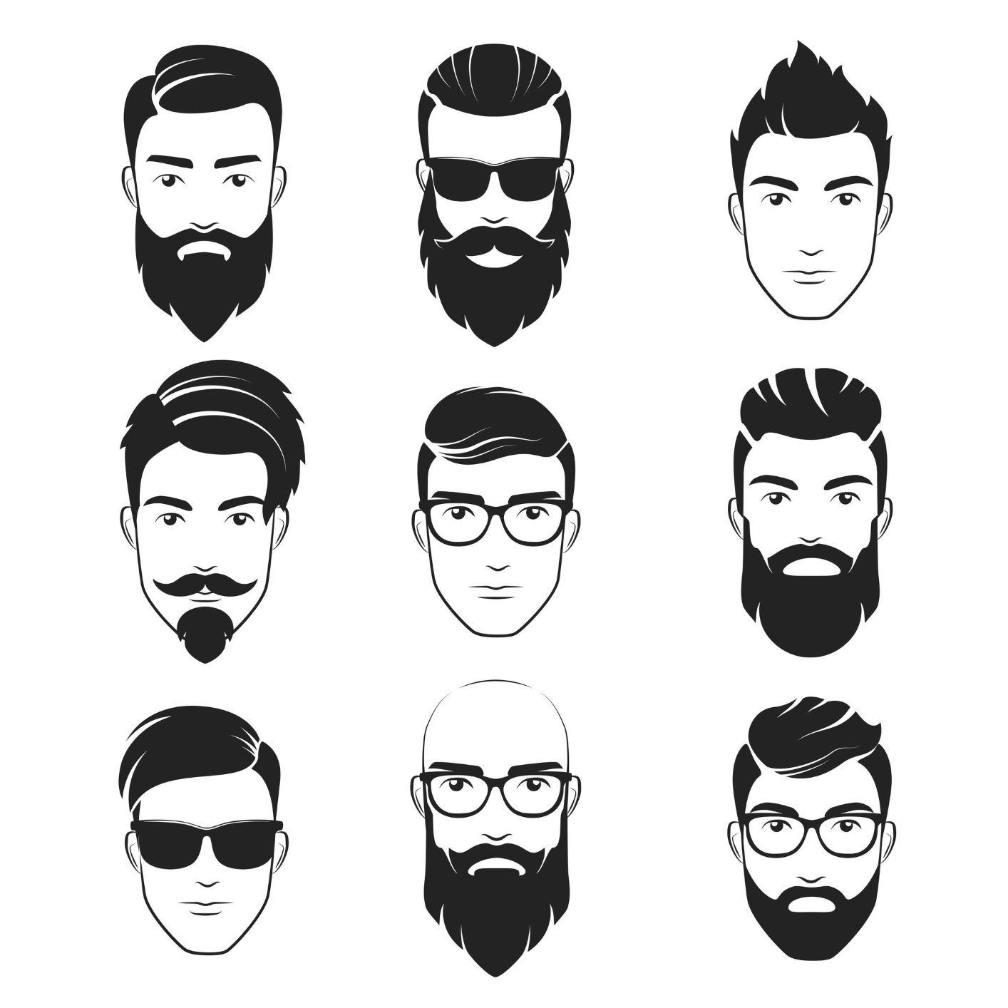 9x9 grid drawing of men with different hairstyles and facial hair