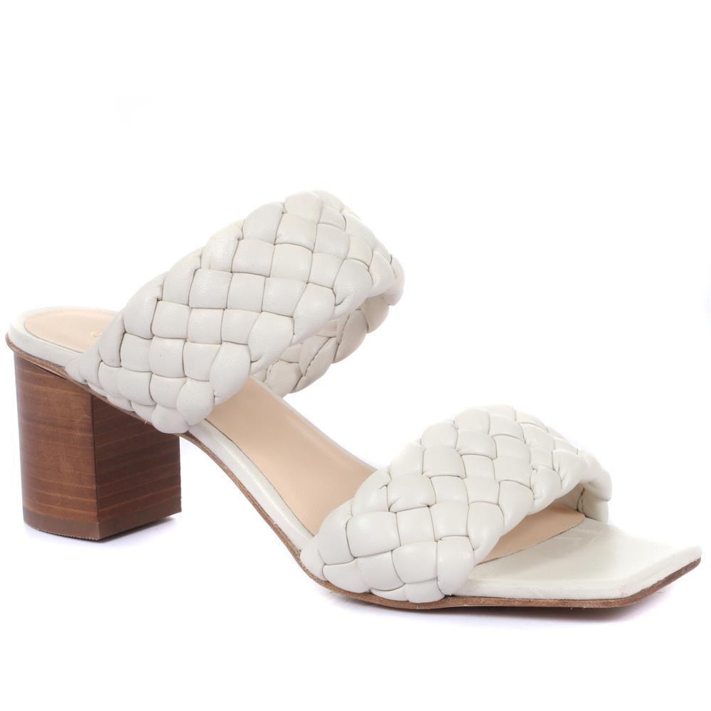 Block Heel Mules - White