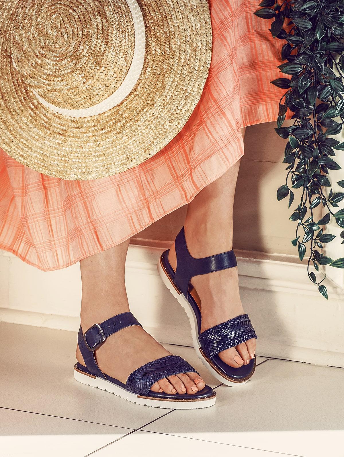 Flat Navy Sandals