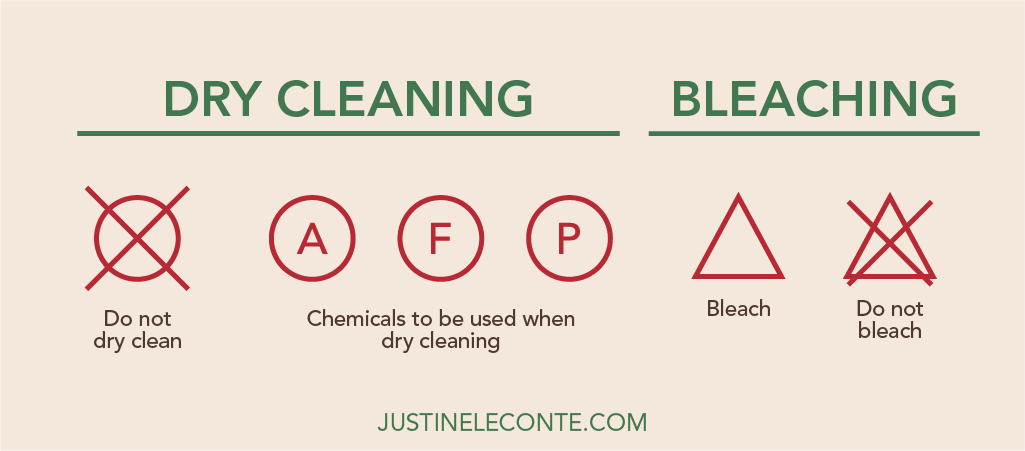 justine leconte blog dry cleaning bleaching clothing care symbols laundry guide