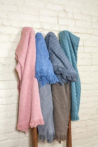All Season Cozy 100% Cotton Knitted Throw Blanket