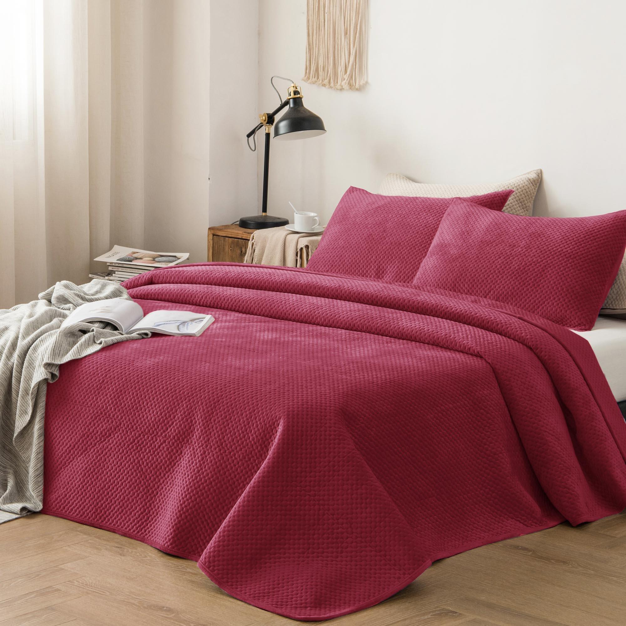 Winter Cozy Velveteen Bedspread With Shams for Bedroom, Guestroom