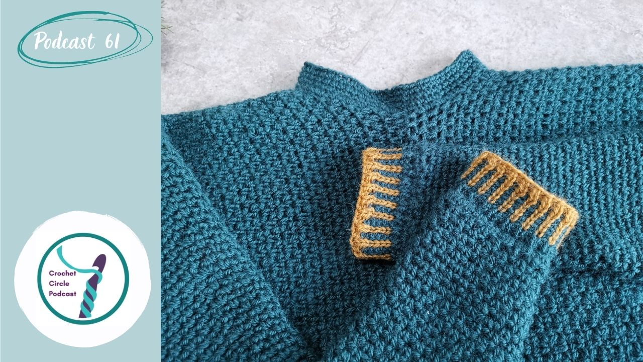 Episode front cover with a close up of a dark teal jumper in linen stitch with mustard cuff and alternatig rib colours.