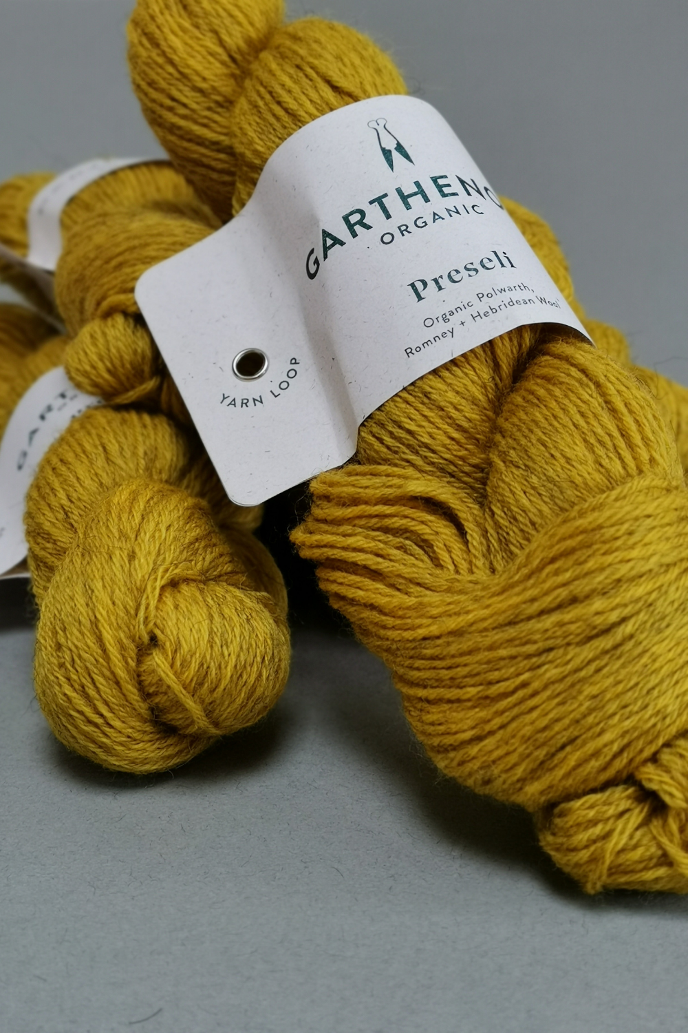 Skeins of a dirty yellow wool by Garthenor ona. grey background
