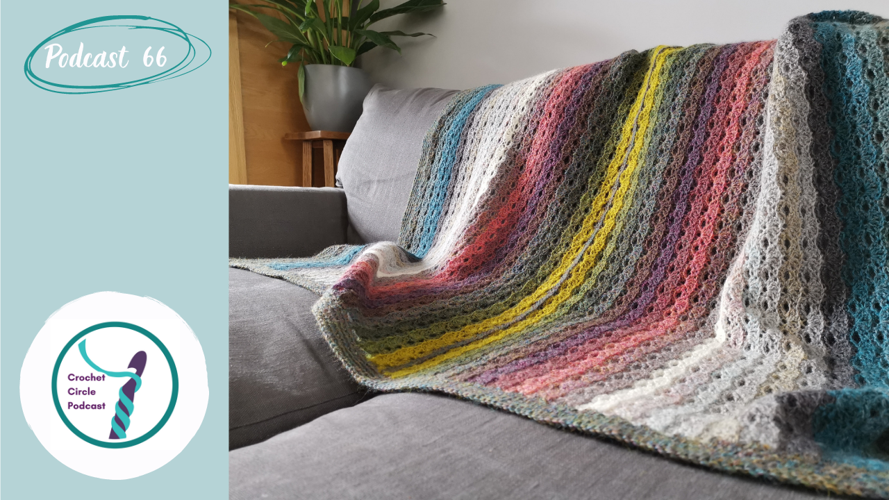 Episode front cover with a multi-coloured striped crochet blanket on a grey sofa