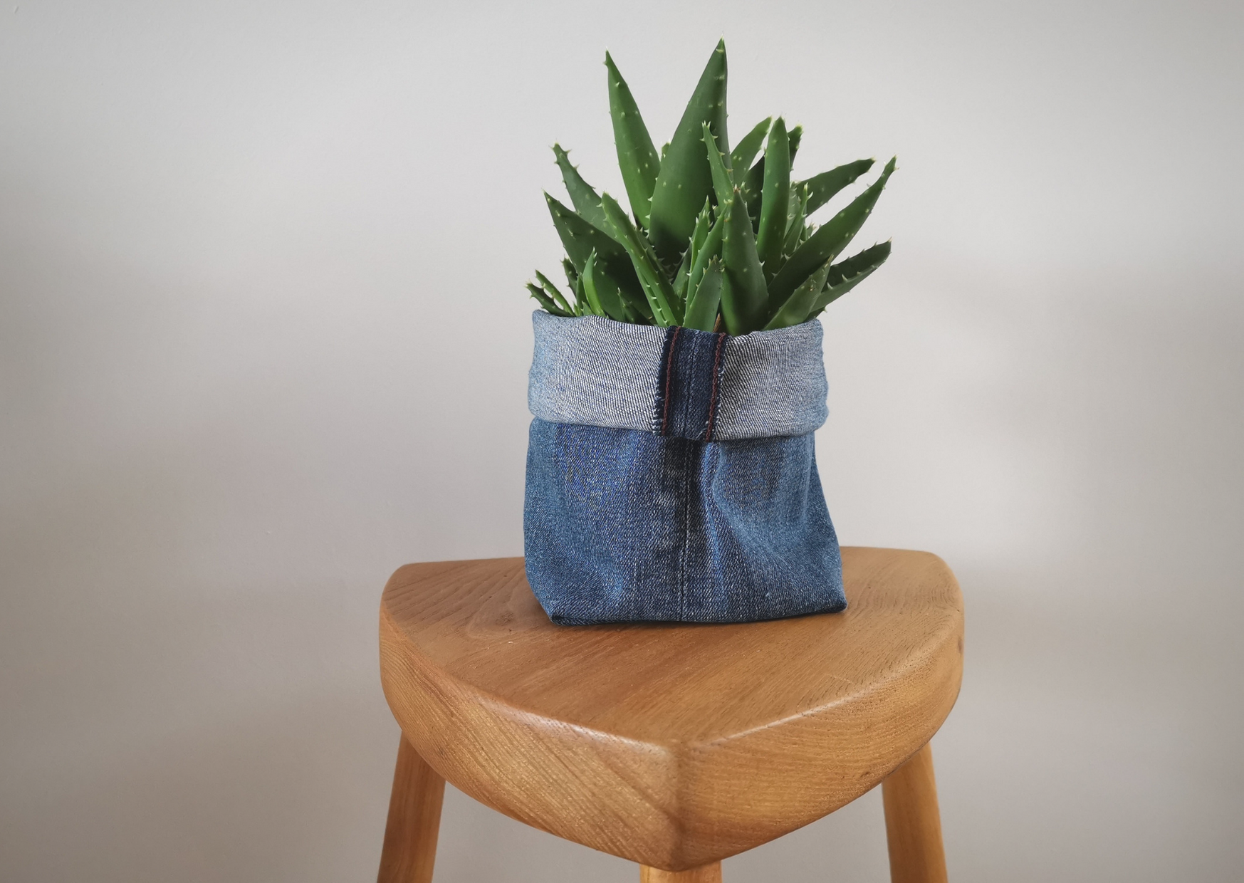 The finished denim plant pot with an aloe vera in ot on a three legged wooden stool.