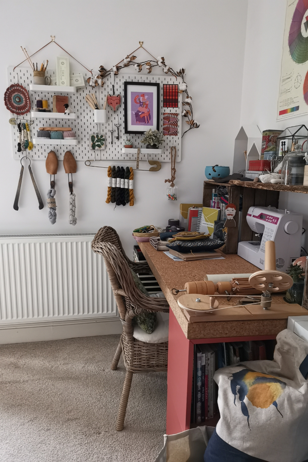 My crafting desk with sewing machine at the ready.  Wall hanging storage shows off precious crafting equipment.