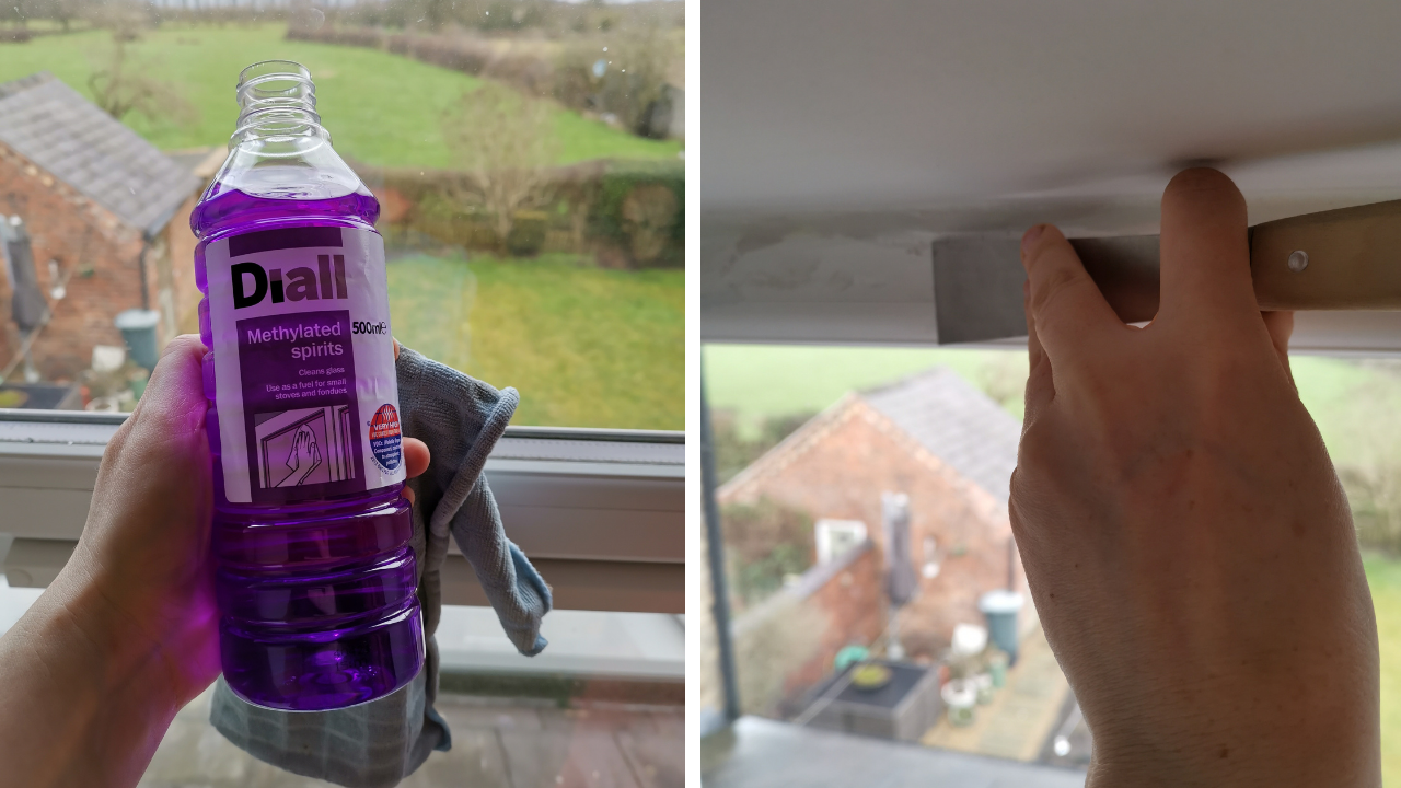 Photo of my hand holing a bottle of methylated spirits which is a dark violet colour.  RH photo is my hand holding a small scraper with a wooden handle and scraing back the caulk seal aroud the window frame