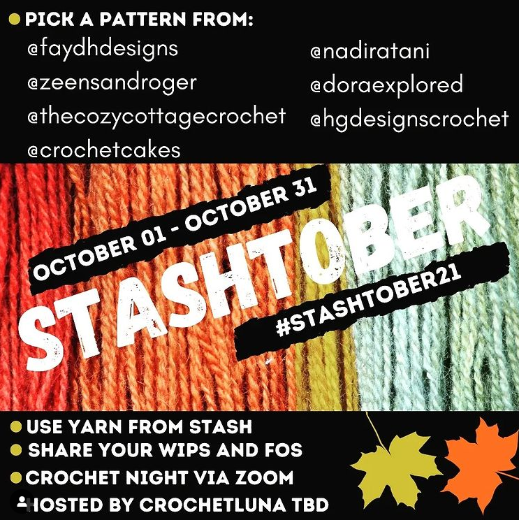 Instagram graphic for Stashtober21 Cal.  Strands of yarn in red, orange, yellow and green.