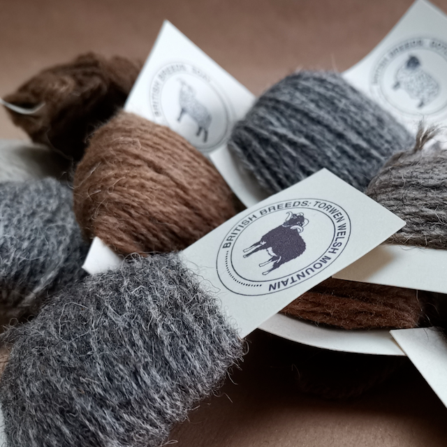 Nuggets of coloured British breed yarns on their identification cards