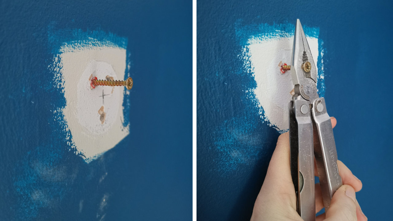 LH photo shows a blue painted wall with a white area where a curtain fitting used to be.  a rawl plug and screw are in one of the fitting holes.  RH photo shows my left hand srasping a set of pliers aroufn the ehad of the screw, ready to pull the rawl plug out.