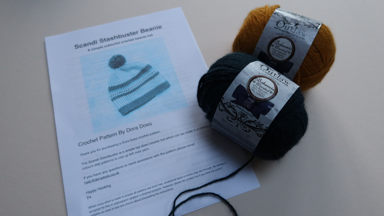 Print out of the Scandi Stashbuster Beanie pattern with two balls of yarn in mustard and petrol green/blue.