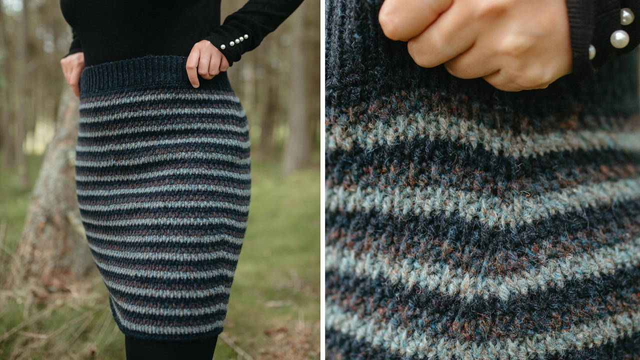 Close up of striped Laminaria skirt showing the shaping around the waist, hips and bum.