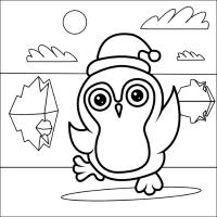 Coloriage de Noël - Pingouin
