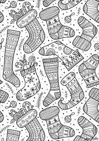 Coloriage de Noël - les chaussettes