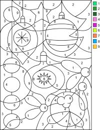 Coloriage de Noël - boules de noël avec nombres