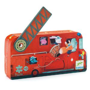 Le camion de pompier - Puzzle silhouette Djeco