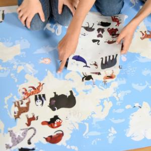 Discovery stickers - poster de gommettes - animaux du monde - Poppik