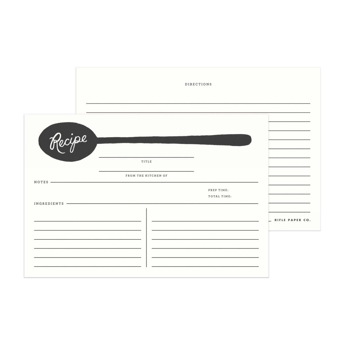 Rifle Paper Co. Tarjetas para recetas Charcoal Spoon | Pack de 12 | Likely.es