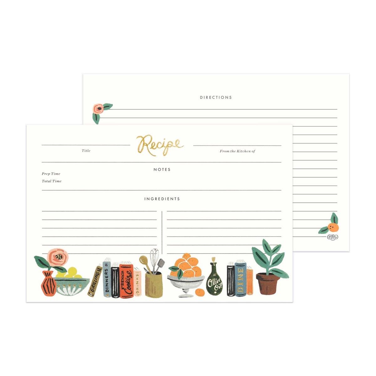 Rifle Paper Co. Tarjetas para recetas Kitchen Shelf | Pack de 12 |Likely.es