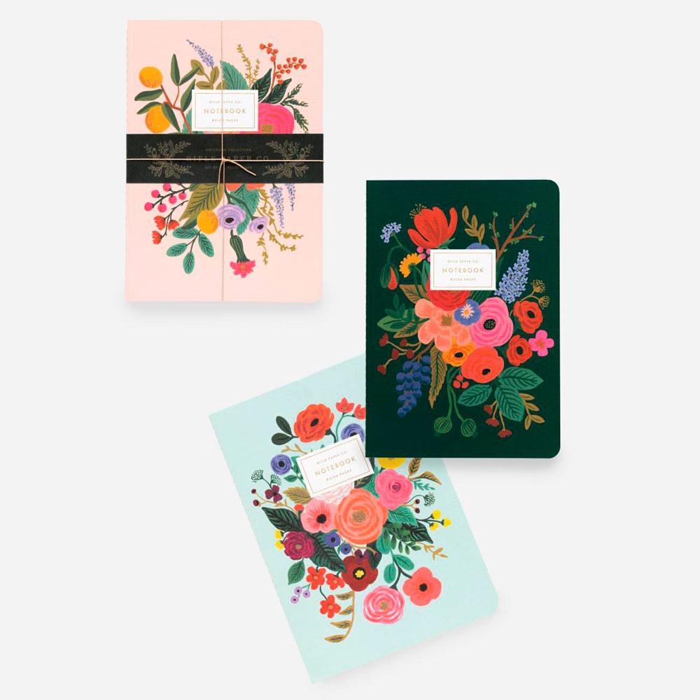 Rifle Paper Co.Garden Party Stitched Notebook | Set de 3 Cuadernos | Hojas con Líneas |Likely.es