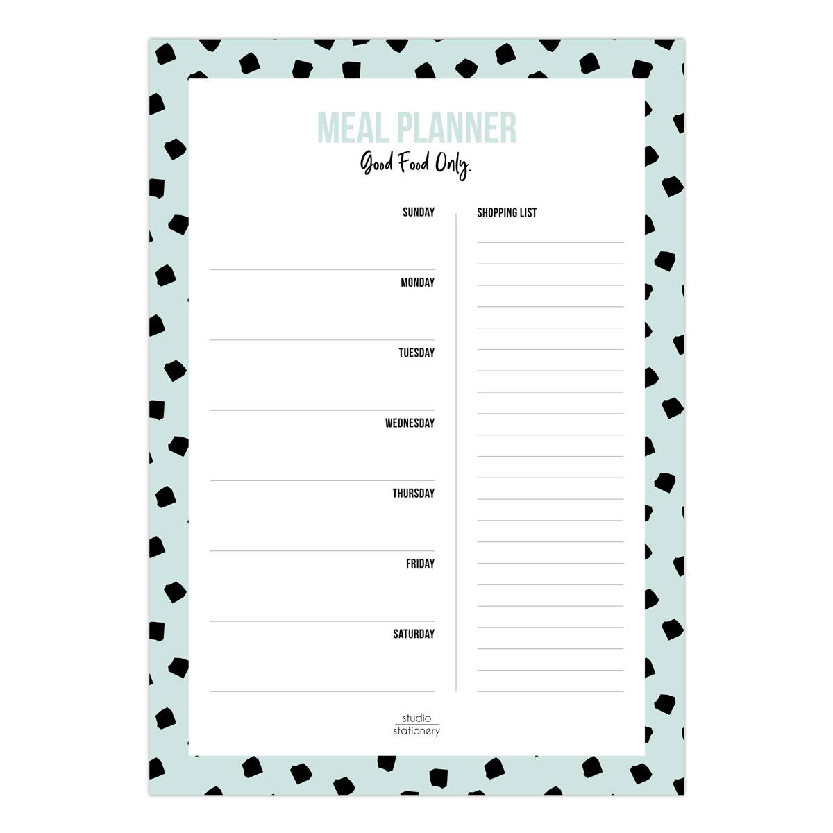 Studio Stationery Planificador de Comidas Notebloc Mealplanner Dots Mint |Likely.es