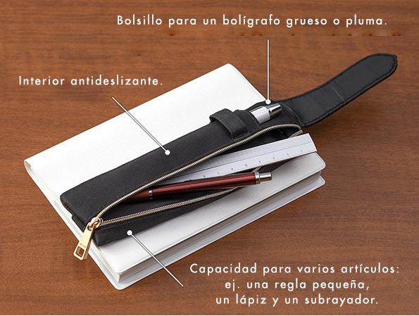 Midori Estuche para bolis ajustable Book Band Pen Case B6 - A5 | Negro