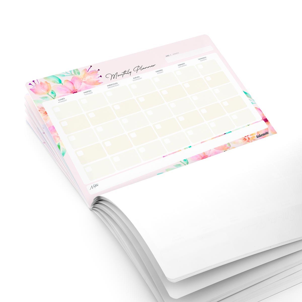 Planificador Mensual de flores Takenote  Likely.es